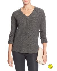Banana Republic   Gray Factory Mixed-stitch Vee Sweater   Lyst