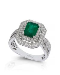 Effy | Green Emerald Diamond 14k White Gold Ring | Lyst