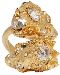 Alexander McQueen | Metallic Gold And Crystal Royal Pair Contrarie Ring | Lyst