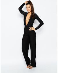 Missguided | Black Slinky Plunge Jumpsuit | Lyst