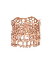 Aurelie Bidermann - Metallic Rose Gold-Plated Lace Ring - Lyst
