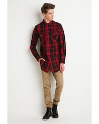 Forever 21 - Black Longline Plaid Shirt for Men - Lyst
