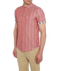Ben Sherman - Red Double-faced Check Classic Fit Short Sleeve Butto for Men - Lyst