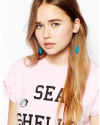 ASOS - Metallic Seedbead and Feather Drop Earrings - Lyst