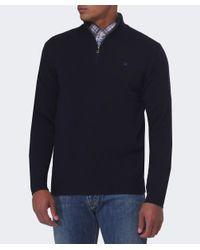 Hackett | Blue Half Zip Wool Jumper for Men | Lyst