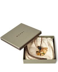Marni | Natural Beige Single Tartan Flower Cattle Horn Necklace | Lyst