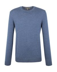 Gibson | Blue Crew Neck Merino Jumper for Men | Lyst