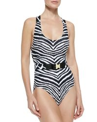 MICHAEL Michael Kors - White Belted Zebra-print One-piece Swimsuit - Lyst