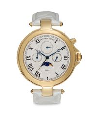Saks Fifth Avenue | Metallic Round Goldtone Stainless Steel & Cream Patent Leather Strap Watch | Lyst