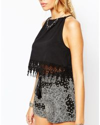 ASOS | Orange Festival Crop Top With Halter Neck And Crochet Trim | Lyst