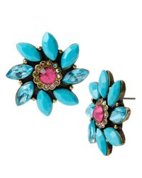 Betsey Johnson | Blue Faceted Flower Stud Earrings | Lyst