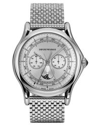 Emporio Armani | Metallic Moonphase Multifunction Watch for Men | Lyst