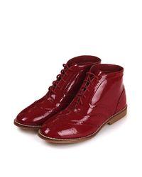 TOPSHOP - Purple Brogue Boots - Lyst