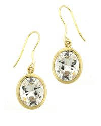 Lord & Taylor | Metallic Gold Plated-sterling Silver Drop Earrings With Cubic Zirconia Stones | Lyst