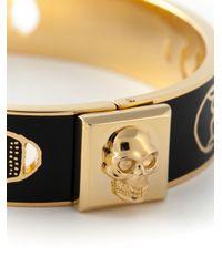 Alexander McQueen - Black Enamel Skull Bracelet - Lyst