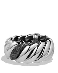 David Yurman | Hampton Cable Bracelet With Black Diamonds | Lyst