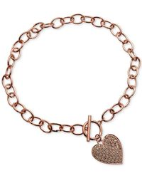 Guess | Pink Rose Gold-tone Pavé Crystal Heart Charm Necklace | Lyst
