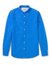 Acne Studios | Blue Isherwood Button-Down Collar Cotton-Poplin Shirt for Men | Lyst