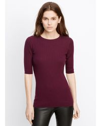 Vince | Red Skinny Rib Short Sleeve Crew Neck | Lyst