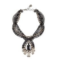 BCBGMAXAZRIA | Black Twisted Stone Statement Necklace | Lyst