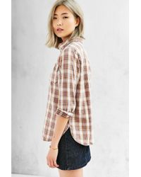 BDG - Brown Washed Out Button-down Shirt - Lyst