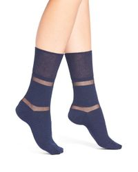 Elie Tahari | Blue Shadow Stripe Ankle Socks | Lyst