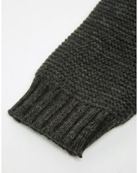 Pieces - Gray Knitted Mittens - Lyst