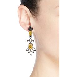 Iosselliani - Gray Cutwork Frame Zircon Drop Earrings - Lyst