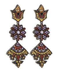 M.c.l  Matthew Campbell Laurenza | Metallic Long Flower/kite Earrings With Enamel | Lyst