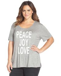CJ by Cookie Johnson | Gray 'peace Love Joy' High/low Tee | Lyst
