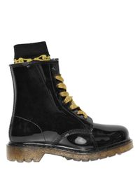 Colors Of California - Black 20Mm Glitter Rubber Lace Up Boots - Lyst