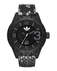 Adidas Originals - Black 'newburgh' Leather Strap Watch for Men - Lyst