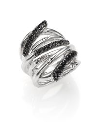 John Hardy | Metallic Bamboo Black Sapphire & Sterling Silver Wide Multi-row Ring | Lyst
