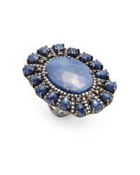 Bavna | Blue Sapphire, Champagne Diamond & Sterling Silver Teardrop Edge Ring | Lyst