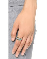Sam Edelman | Metallic Stone Stack Ring Set - Turquoise/gold | Lyst