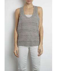 INHABIT | Gray Crochet Mouline Tank | Lyst