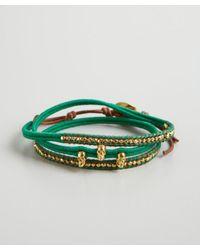 Chan Luu - Green Thread and Leather Skull Bead Wrap Bracelet - Lyst
