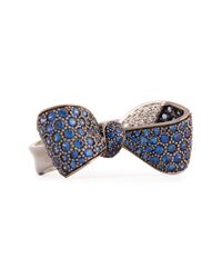 Mimi So | Blue Bow Large 18k Gold Sapphire & Diamond Ring | Lyst