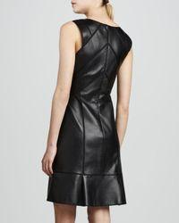 J. Mendel - Black Leather Paneled Dress - Lyst