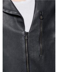 Paul Smith - Gray Leather Biker Jacket for Men - Lyst