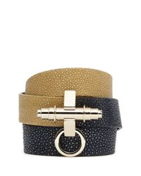 Givenchy | Green 'obsedia' Triple Wrap Stingray Leather Bracelet | Lyst