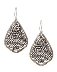 Nakamol | Metallic Gunmetal Beaded Teardrop Earrings | Lyst