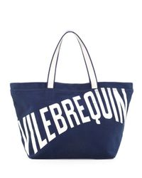 Vilebrequin - Blue Mens Logo Canvas Tote Bag - Lyst