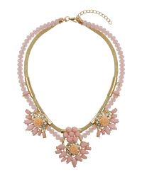 Mikey | Pink Flowers On Bead And Metal Chain Necklace | Lyst