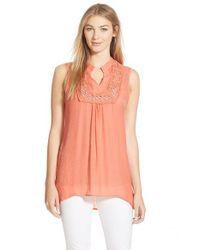 Bobeau - Pink Crochet Inset Sleeveless Top - Lyst