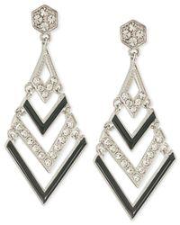 Carolee | Metallic Silver-Tone Black Chevron Crystal Chandelier Earrings | Lyst