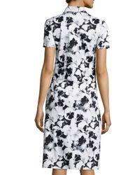 Carolina Herrera - Multicolor Pansy-print Short-sleeve Shirtdress - Lyst