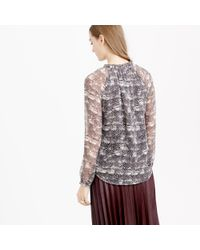 J.Crew | Black Collection Silk Blouse In Feather Print | Lyst