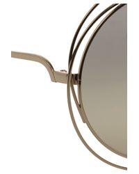 Chloé - Gray Carlina Roundframe Metal Sunglasses - Lyst