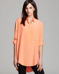 DKNY - Orange Button Down Shirt - Lyst